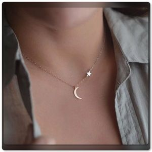 Moon Star Gold Tone Necklace